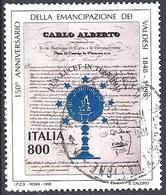 Italia, 1998 Emancipazione Ebrei Italiani, 800L Policromo # Michel 2613 - Scott 2277 - Sassone 2392 - Usato - 6. 1946-.. Republik