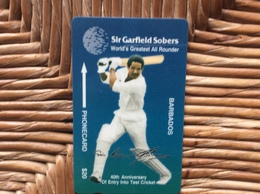TELECARTE BARBADES  Sir Garfield Sobers WORLD'S GREATEST ALL ROUNDER 40th Anniversary Of Entry Into Test Cricket - Barbades