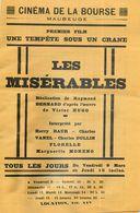 """MAUBEUGE PROGRAMME DU CINEMA DE LA BOURSE """" LES MISERABLES """" VICTOR HUGO TEMPETE SOUS UN CRANE 59 NORD - Maubeuge"""