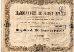 Titre Ancien - Compagnie Française Des Charbonnages De Pienza  (Italie) - Obligation De 1876 - Déco - Mines