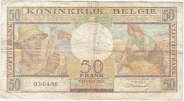 Bélgica - Belgium 50 Francs 3-4-1956 Pk 133 B Firma Williot Ref 13 - Otros