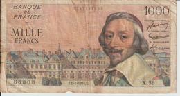 Billet  1.000  Francs  Richelieu  - T.1-7-1954.T  -  N°  88303 -  X.59 - 1871-1952 Gedurende De XXste In Omloop