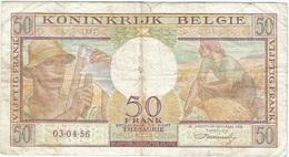 Bélgica - Belgium 50 Francs 3-4-1956 Pk 133 B Firma Williot Ref 14 - Otros