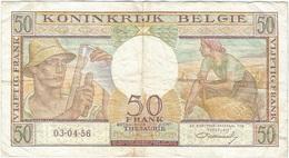Bélgica - Belgium 50 Francs 3-4-1956 Pk 133 B Firma Williot Ref 15 - Otros