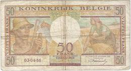 Bélgica - Belgium 50 Francs 3-4-1956 Pk 133 B Firma Williot Ref 16 - Otros
