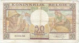 Bélgica - Belgium 50 Francs 3-4-1956 Pk 133 B Firma Williot Ref 18 - Otros
