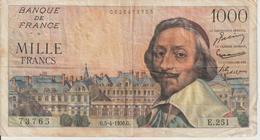 Billet  1.000  Francs  Richelieu -  G.5-4-1956.G.  -  N°  73765 -  E.251. - 1871-1952 Antichi Franchi Circolanti Nel XX Secolo