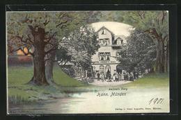 Passepartout-Lithographie Hann. Münden, Hotel-Pension Andree`s Berg, Landschaft Im Letzten Tageslicht - Hannoversch Münden