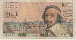 Billet  1.000  Francs  Richelieu -  F.7-10-1954.F.  -  N°  56681 6  X.70. - 1871-1952 Circulated During XXth