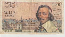 Billet  1.000  Francs  Richelieu  -  O.6-12-1956.O.  -  N°  67589   -  S.306. - 1871-1952 Gedurende De XXste In Omloop