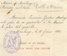 VILLE DE MAUBEUGE GUERRE CROIX-ROUGE BRITISH RED CROSS CONVOCATION SOLDAT ANGLAIS BAVAY 59 NORD - Maubeuge