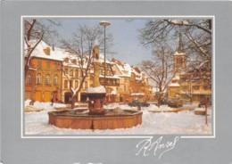 L ALSACE SOUS LA NEIGE Hiver 1985 1986 MUNSTER Place Du Marche Et Eglise 13(scan Recto-verso) MA276 - Munster