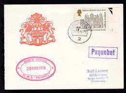 "R1 PAQUEBOT + OSt. Hamburg 25.3.74 + Cachet HMS ""Hermes"" Auf Postkarte - Stamps"