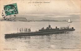Bateau Sous Marin Le Submersible Germinal Marine Militaire Française Cpa Carte Animée Marins Cachet Cherbourg 1911 - Sous-marins