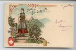 TRES RARE CPA 1901 SUISSE SOUVENIR BALE CAMPAGNE ILLUSTRATEUR PUBLICITE CHOCOLAT KLAUS LOCLE MORTEAU BLASON BE TBE - BL Basel-Land