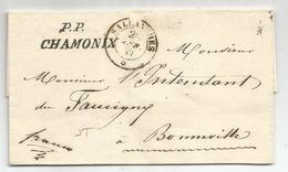 HAUTE SAVOIE CURSIVE SARDE PP CHAMONIX + CACHET SARDE SALLANCHES 1849 LETTRE POUR BONNEVILLE SUPERBE - 1849-1876: Classic Period