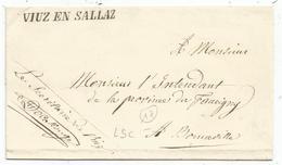 HAUTE SAVOIE CURSIVE SARDE VIUZ EN SALLAZ   LETTRE POUR BONNEVILLE SUPERBE - 1849-1876: Classic Period