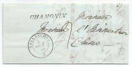 HAUTE SAVOIE CURSIVE SARDE CHAMONIX + CACHET SARDE SALLANCHES 2 OCT 1850  LETTRE POUR CLUSES  SUPERBE - 1849-1876: Classic Period
