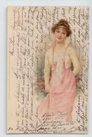 SUPERBE CPA PRECURSEUR 1903 ILLUSTRATEUR MODE FEMME ELEGANTE BE TBE - Künstlerkarten