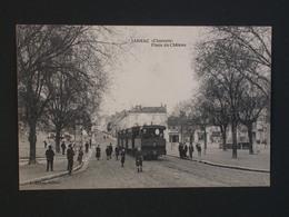 Ref5800 CPA Animée De Jarnac (Charente) Place Du Chateau - Tramway - L. Lebon éditeur - Jarnac