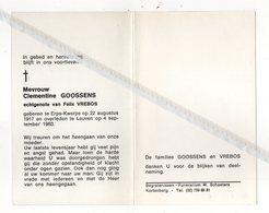 CLEMENTINE GOOSSENS ° ERPS-QUERPS 1917 + LEUVEN 1983 / FELIX VREBOS - Images Religieuses