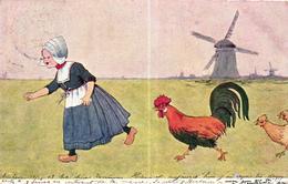 CPA ILLUSTRATEUR - HOLLAND - FEMME AVEC POULES - Illustrateurs & Photographes