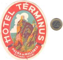 ETIQUETA DE HOTEL  -HOTEL TÉRMINUS  -PALMA DE MALLORCA -ISLAS BALEARES - Etiquetas De Hotel