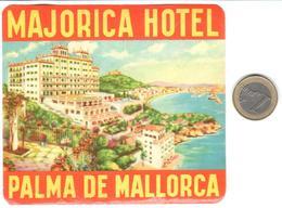ETIQUETA DE HOTEL  -MAJORICA HOTEL  -PALMA DE MALLORCA -ISLAS BALEARES - Etiquetas De Hotel