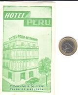 ETIQUETA DE HOTEL   - HOTEL PERU -PALMA DE MALLORCA -ISLAS BALEARES - Etiquetas De Hotel