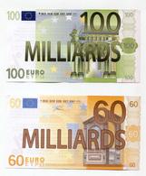 """Lot De 2 Billets Politiques De 100 Et 60 Milliards D'euro """"Association Attac à Paris"""" - Specimen"""