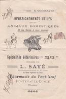 """FONTENAY-le-COMTE - Document Vétérinaire Provenant De La Pharmacie Du Pont-Neuf """" L. SAVE """" - Animaux - Voir Description - Fontenay Le Comte"""