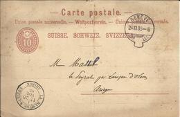 Entier Postal ,10 C , 1885 , Cachets De : GENEVE ( EXP. LET. ) & LA BASTIDE S. L'HERS - Entiers Postaux