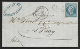 Gard-Lettre De Aiguesvives-Gros Chiffre 4144 De Vergeze Sur N°22-Boite Rurale C - 1849-1876: Période Classique