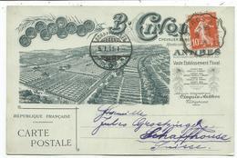 SEMEUSE 10C CARTE PRIVEE B CINQUE ANTIBES ALPES MARITIMES 1911 POUR SUISSE - Postmark Collection (Covers)