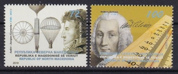 North Macedonia 2019 Sciences Anders Celsius Astronomy Physics Sweden André Jacques Garnerin Balloon France MNH - Macedonia