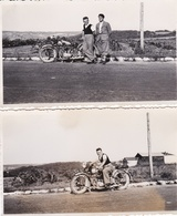 Lot De 2 Clichés De 2 Hommes Sur Une Moto Dans Le Département De Seine Maritime ??  - Voir Description - Motorbikes
