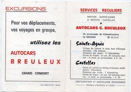 Menton (06 ALpes Maritimes) Prospectus  AUTOCARS BREULEUX (PPP18159) - Publicités