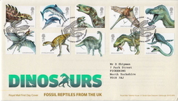 Great Britain Dinosaurs Set On Used FDC - Stamps