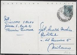 STORIA POSTALE REPUBBLICA - ANNULLO CONALBI TERMINI IMERESE 31.10.1955  SU CARTOLINA POSTALE SIRACUSANA LIRE 20 - 6. 1946-.. Repubblica