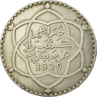 Monnaie, Maroc, 'Abd Al-Hafiz, Rial, 10 Dirhams, 1911, Bi-Bariz, Paris, TTB+ - Marruecos