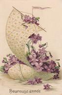 Nouvel An : Gaufrée : Heureuse Année - Bateaux De Violettes - Nouvel An