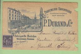 VILLEFRANCHE SUR SAONE : Fabrique De Postiches, Commerce De Cheveux Durand, 85 Rue Nationale. 1897. 2 Scans. - Villefranche-sur-Saone