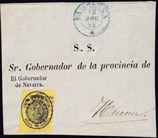 1856. PAMPLONA A HUESCA. FRONTAL SERVICIO OFICIAL MEDIA ONZA AMARILLO Nº35. FECHADOR TIPO I AZUL. MUY BONITO. - 1850-68 Königreich: Isabella II.