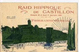 BROCHURE 8 PAGES RAID HIPPIQUE DE CASTILLON (33) PROGRAMME OFFICIEL 16 ET 17 SEPTEMBRE 1923 - Programmes