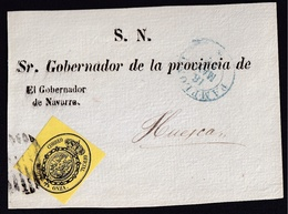 1856. PAMPLONA A HUESCA. FRONTAL SERVICIO OFICIAL MEDIA ONZA AMARILLO Nº 35 BORDE IZQ. DE HOJA. FECHADOR AZUL TIPO I. - 1850-68 Reino: Isabel II