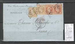 Lettre - Bordeaux à LIMA - Pérou  Via Panama  - SIGNE CALVES -1869 - Postmark Collection (Covers)