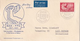FINLANDE 1957 FDC DE TAMPERE I PAR AVION - Finlande