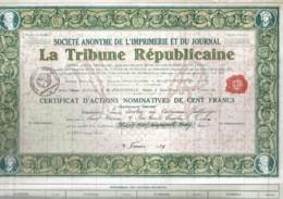 """42-IMPRIMERIE ET DU JOURNAL """"LA TRIBUNE REPUBLICAINE""""  CAN émis. Lot De 6 - Shareholdings"""