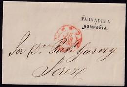 """1850. CÁDIZ A JEREZ. MARCA COSARIO """"PAUSADELA Y COMPAÑIA"""" NEGRO. FECHADOR ROJO DE CÁDIZ. PRECIOSA Y RARA EN ESTA CALIDAD - Storia Postale"""