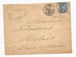 Lettre , 1886, ROUEN , PARIS DEPART , REBAIS , Seine Et Marne ,3 Scans - 1877-1920: Période Semi Moderne